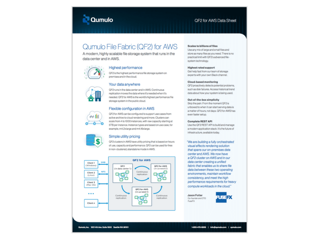 Qumulo File Fabric (QF2) for AWS