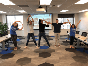 Team Cha-Ching spells PARTY with their bodies