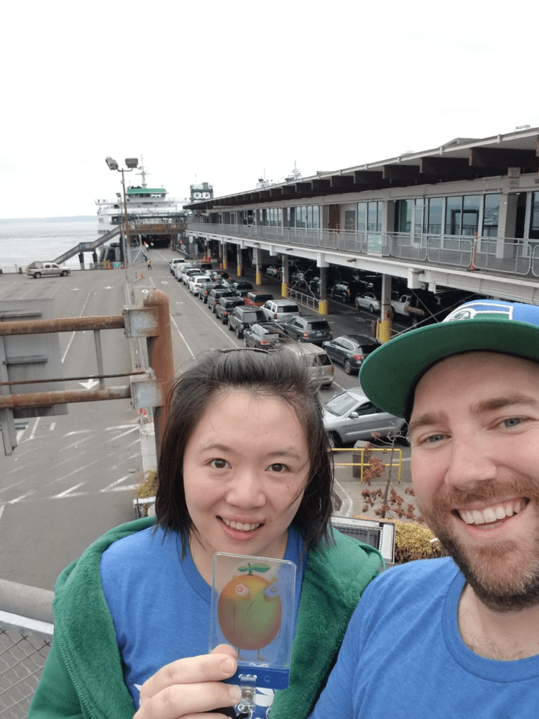 Tina Zhang and Bryan Leary at the ferry boat terminal