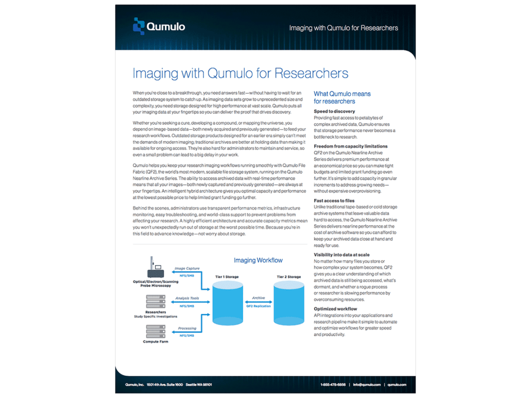 Imaging with Qumulo for Researchers