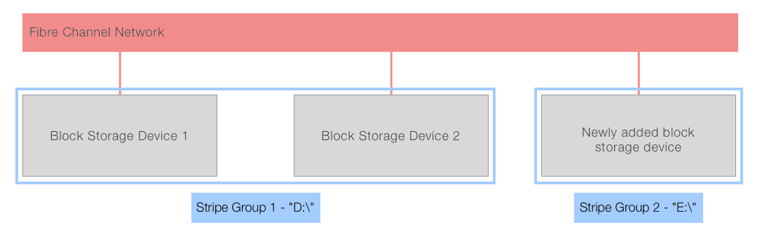 SAN vs NAS storage: diagram of typical SAN environment after adding additional block storage devices