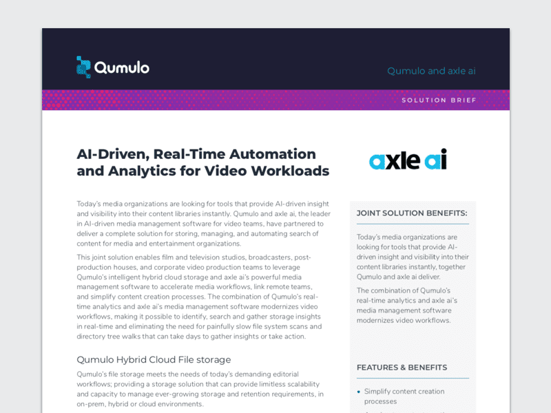 Qumulo and axle ai: AI-Driven, Real-Time Automation and Analytics for Video Workloads
