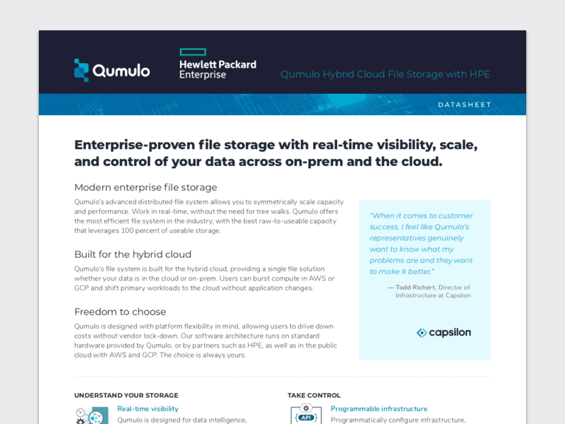Qumulo Hybrid Cloud File Storage with HPE