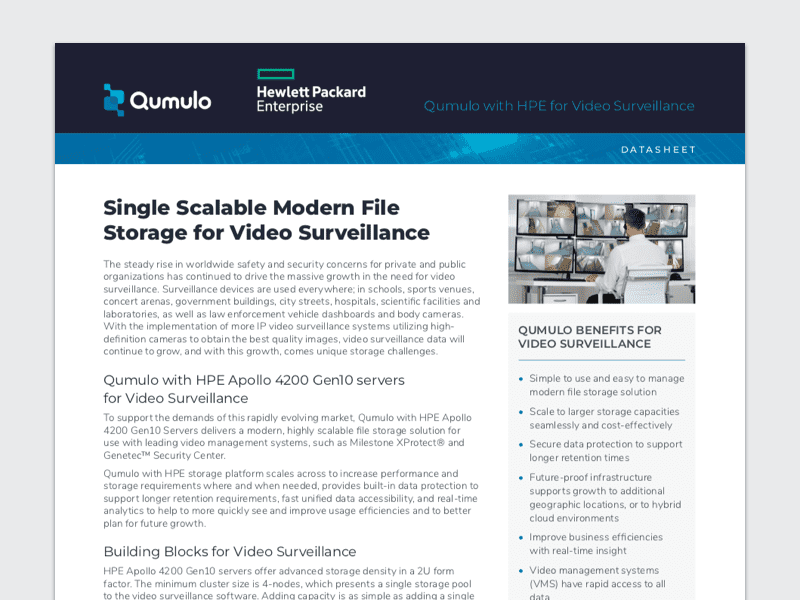 Qumulo with HPE for Video Surveillance