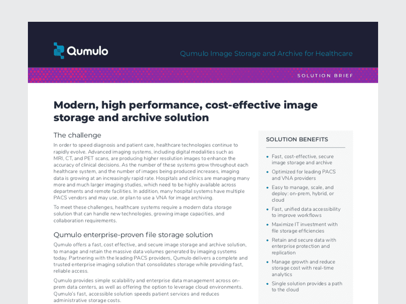 Qumulo Image Storage for Healthcare