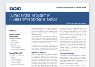 Qumulo Hybrid File System on P-Series NVME Storage vs. NetApp