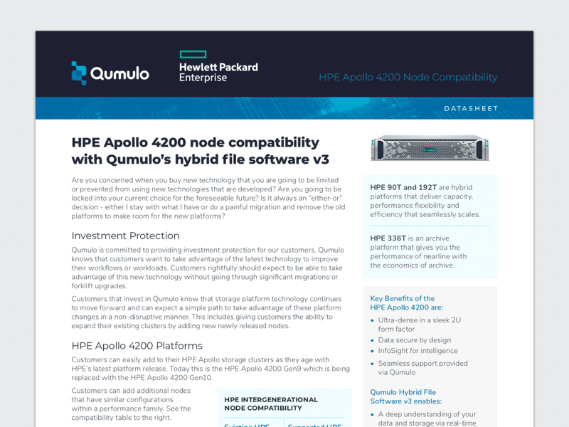 HPE Apollo 4200 Node Compatibility