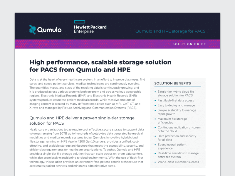 Qumulo and HPE storage for PACS