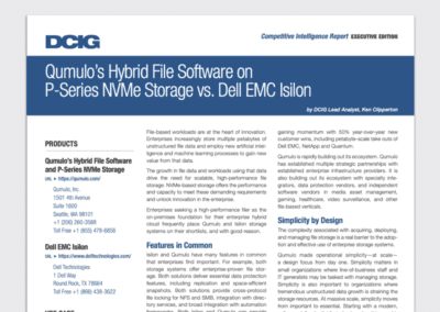 Qumulo's Hybrid File Software on P-Series NVMe Storage vs. Dell EMC Isilon