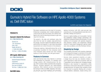 Qumulo's Hybrid File Software on HPE Apollo 4000 Systems vs. Dell EMC Isilon