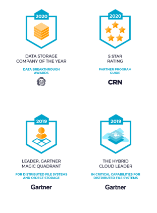 file data platform award badges - Data Storage, CRN, Gartner