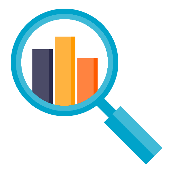 file data platform: icon of a magnifying glass looking at a chart, symbolizing analytics