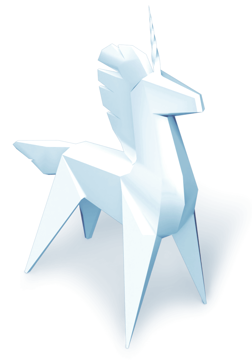 origami unicorn, signifying qumulo's status as a tech unicorn.