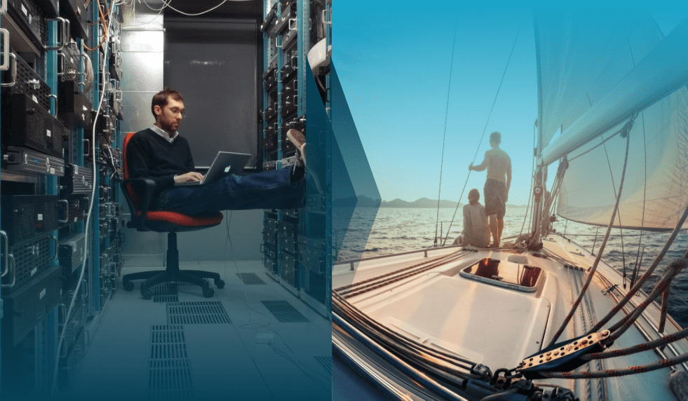 Qumulo Instant Upgrade - image showing a person working in a data center vs a person enjoying time outside on a sail boat
